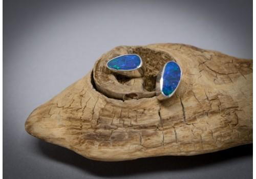 Boucles d'oreilles opale et argent pour femme