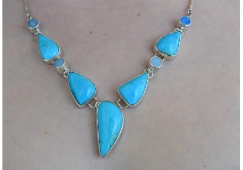 Collier turquoise, opale et argent pour femme