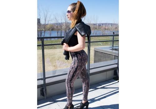 Pantalon de yoga brun, vieux rose et noir