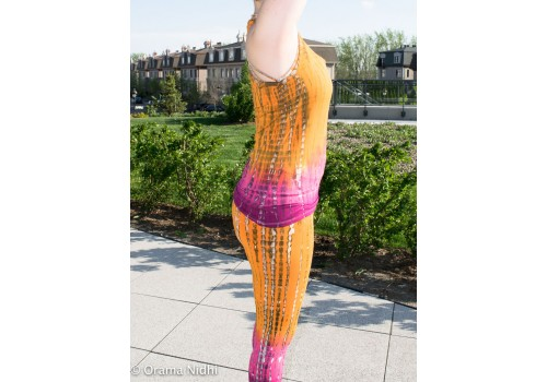 Camisole de yoga orange et rose