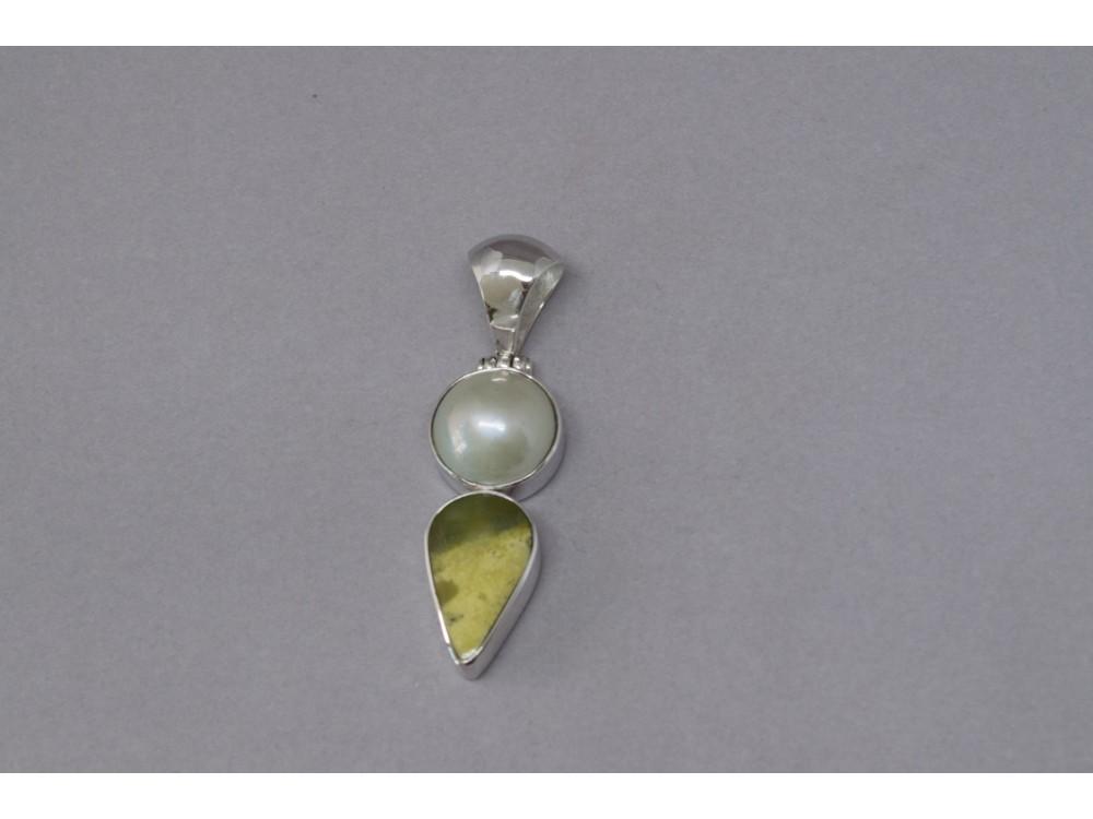 Pendentif perle serpentine et argent pour femme orama nidni for Peinture couleur argent pour bijoux