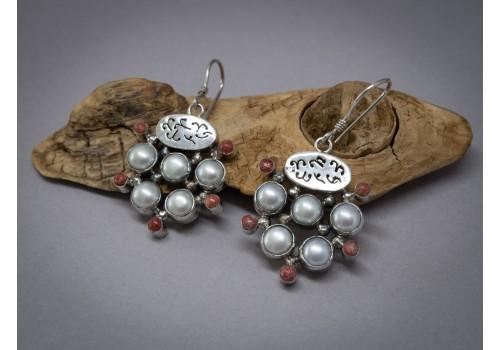 Boucles d'oreilles perle et corail