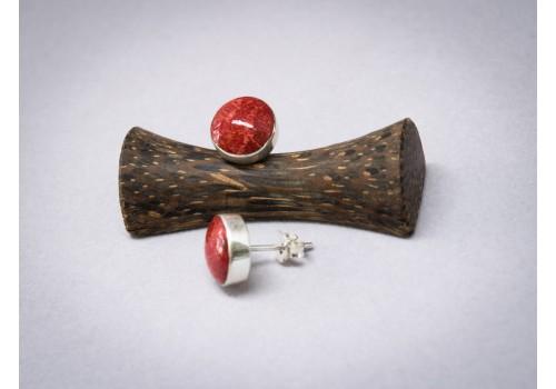 Boucles d'oreilles corail rouge et argent pour femme