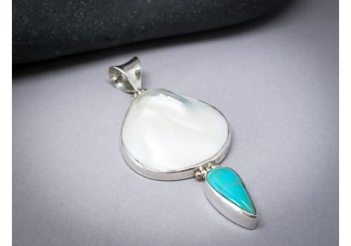 Pendentif perle, turquoise et argent pour femme