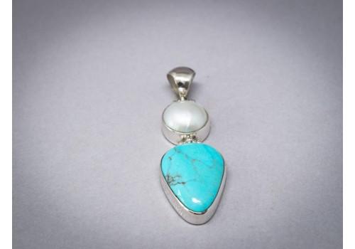 Pendentif turquoise, perle et argent pour femme