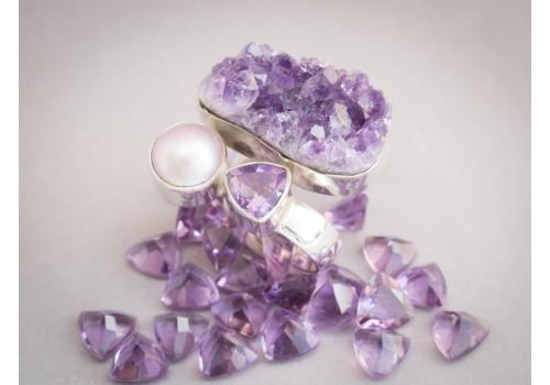 Bague améthyste, perle rose et argent pour femme